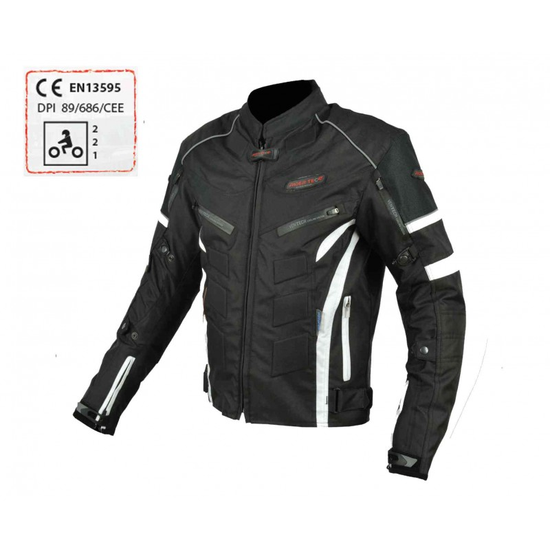 blouson moto touring textile rider tec urban black white. Black Bedroom Furniture Sets. Home Design Ideas