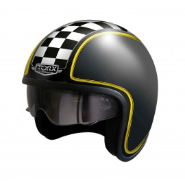 CASQUE JET CUSTOM TORX HARRY DAMIER NOIR MAT