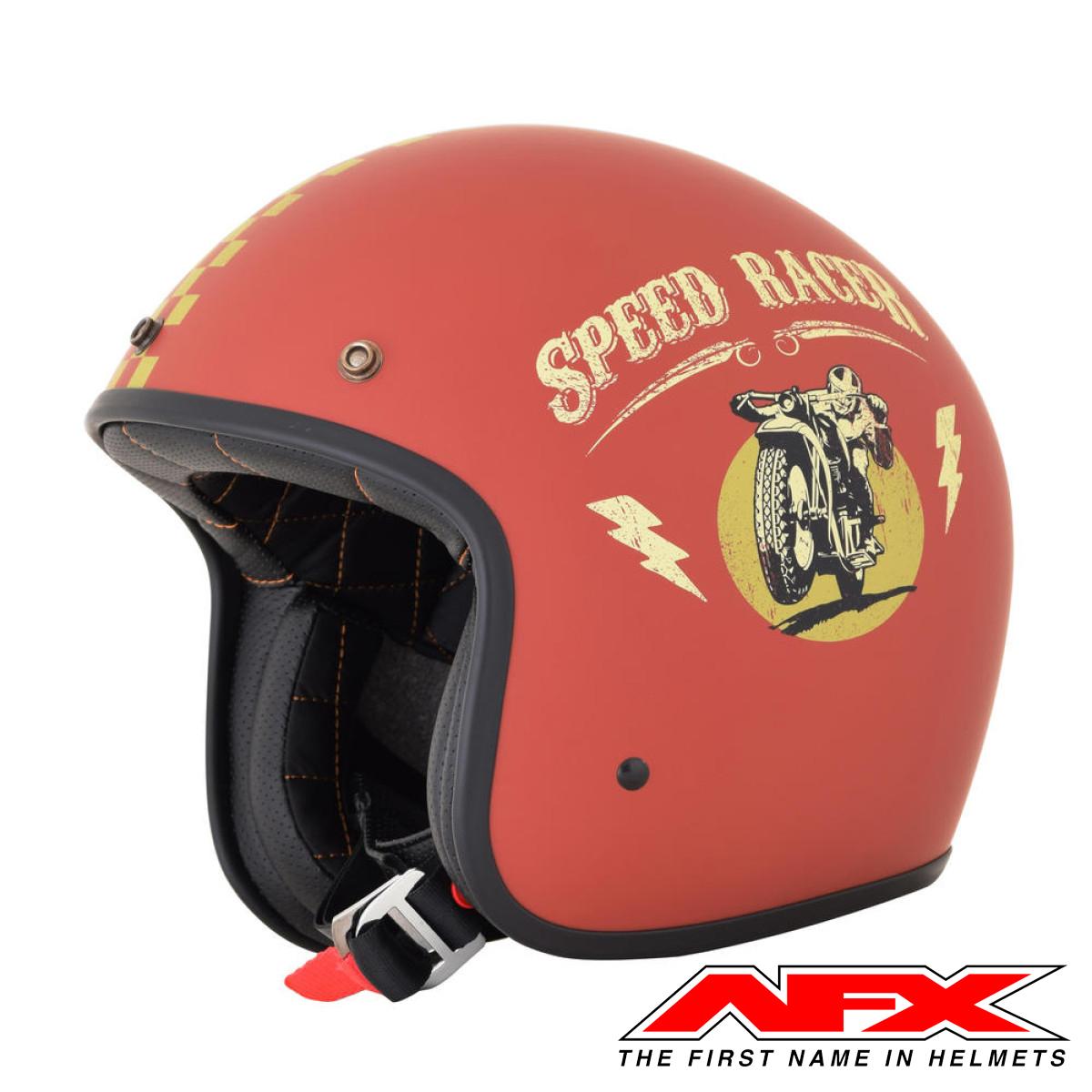 Casque Moto Afx Jet Vintage 3 4 Speed Racer Rust Gold Mat En