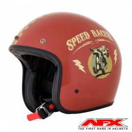 CASQUE MOTO AFX JET VINTAGE 3/4 SPEED RACER RUST GOLD BRILLANT