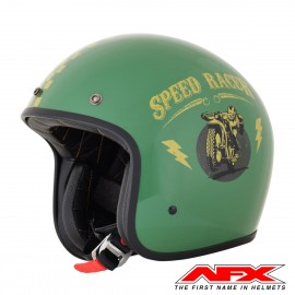 CASQUE MOTO AFX JET VINTAGE 3/4 SPEED RACER BLACK GOLD BRILLANT