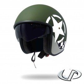CASQUE JET MOTO UP SMART FIBRE STAR GREEN MAT