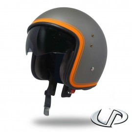 CASQUE JET MOTO UP SMART FIBRE BORDER GUN METAL MAT