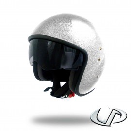 CASQUE JET MOTO UP SMART FIBRE GLITTER WHITE