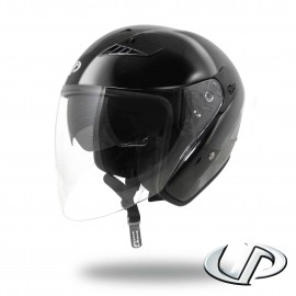 CASQUE JET MOTO UP SUBURBAN BLACK SHINY