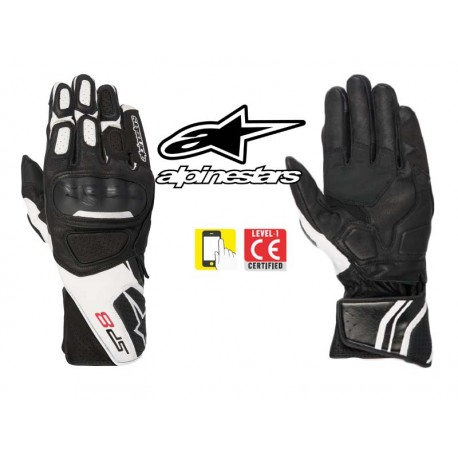 gants moto ete alpinestars sp 8 v2 noir blanc homologue ce en livraison gratuite en france. Black Bedroom Furniture Sets. Home Design Ideas