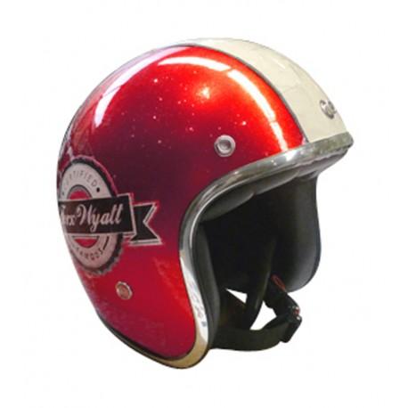 Casque Jet Vintage Wyatt Famous Shiny Glitter Red En Livraison
